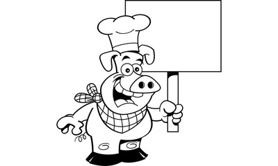 Black and white illustration of a pig wearing a chef's hat and holding a sign.