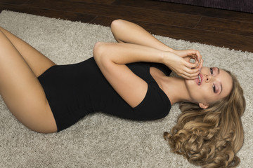 beautiful girl on carpet