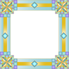 Illustration in stained glass style with geometric frame
