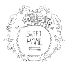solid drawing houses with flowers and the words sweet home with arrows black and white drawing,