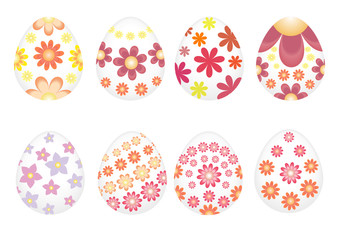 Easter eggs painted with varios flowers.