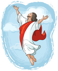Miracles of Jesus Christ. Ascension of Jesus raising hands to God in blue sky between clouds