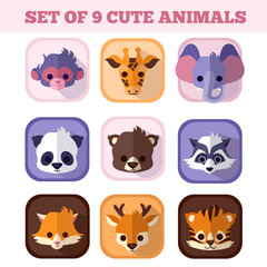 Set of nine cute animals flat icons. Monkey with Giraffe Elephant Panda Bear and Raccoon Fox Deer Tiger pretty baby mammals