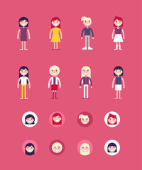 Set of Female Avatars and Icons. Flat Style Vector Illustrations. Fashion and Clothing