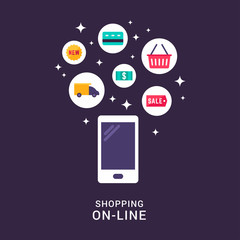 Shopping Online Concept Illustration. Vector Flat Style Illustration and Icons