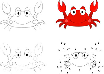 Cartoon crab. Dot to dot game for kids