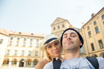 Tourist couple at Nesvizh Castle