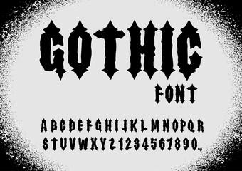 Gothic font. Ancient font. Gothic letters. Vintage alphabet. Let