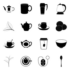 Tea mug 16 simple icons on white background. Vector illustration.