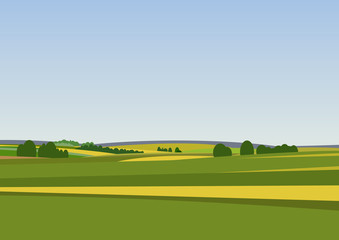Green landscape with yellow fields.