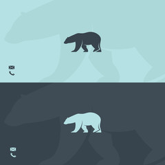 Business card template with polar bear