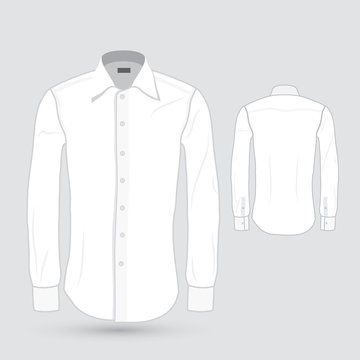 Men's white dress shirt - front and back