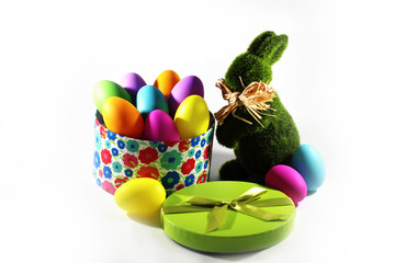 Easter Bunny rabbit and colorful Easter eggs