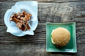hamburger and sausage wood table