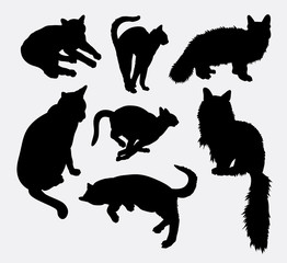 Cat pet animal activity silhouette. Good use for symbol, logo, web icon, mascot, sign, sticker design, or any design you want. Easy to use.