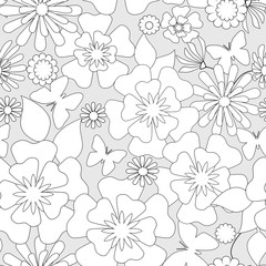 Coloring page book with decorative ornamental floral elements bl
