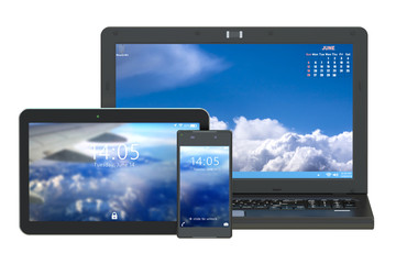 modern laptop, tablet and smartphone