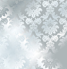 Vector baroque seamless damask silver texture. Luxury gray floral pattern for wrapping paper, background or wallpaper.