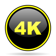 4k black and yellow glossy internet icon