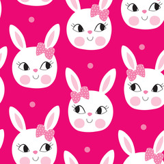seamless cute bunny pattern vector illustration