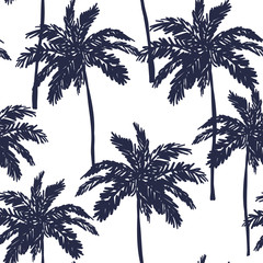 Palm trees silhouette on the white background. Vector seamless pattern with tropical plants.