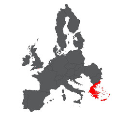 Greece red map on gray Europe map vector