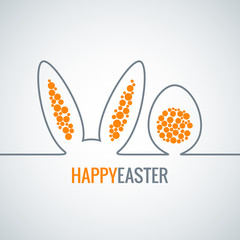 easter bunny with egg abstract vector background