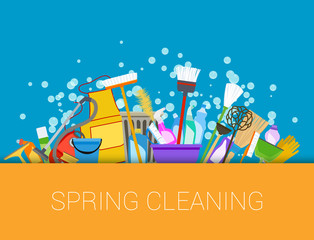 Spring cleaning background. Set of cleaning supplies