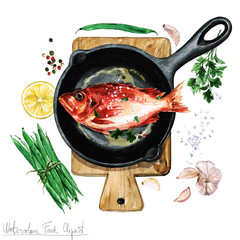 Watercolor Food Clipart - Fish on a frying pan