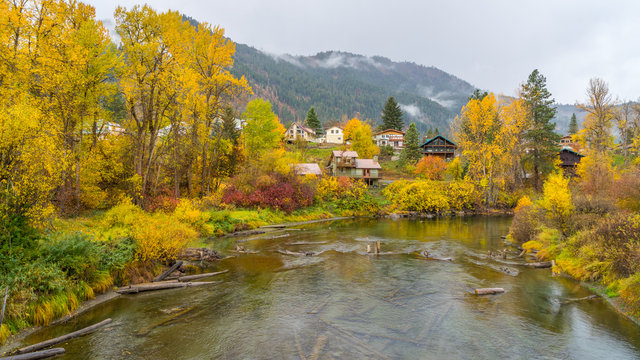 Autumn forest on the riverside, beautiful trees and small houses on a background of mountains