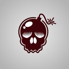 Skull bomb logo illustration