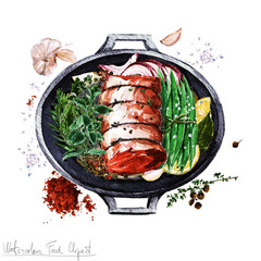 Watercolor Food Clipart - Rolled brisket cut in a cooking pot
