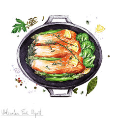 Watercolor Food Clipart -  Salmon in a cooking pot