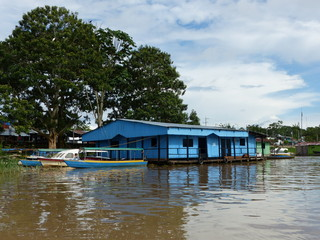 Floating houses in Letícia Amazonas, Colombia