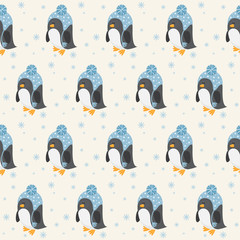 Funny cartoon penguin seamless pattern background