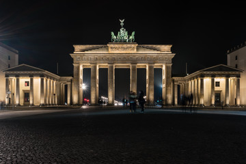 The Brandenburg Gate is an 18th-century neoclassical triumphal arch in Berlin, Germany. Night illumination.