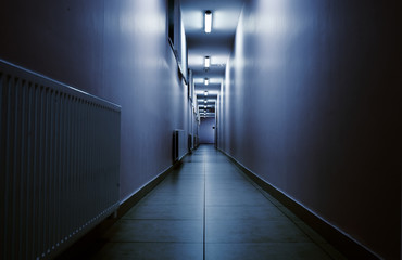 Terrifying night corridor in perspective