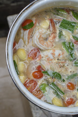 Tom Yam Kung , big shrimp favorite spicy thai cuisine food with
