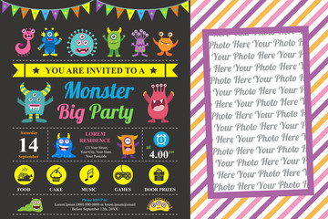 Cute Monster Invitation Birthday Card