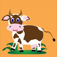 White with brown spots cheerful cow
