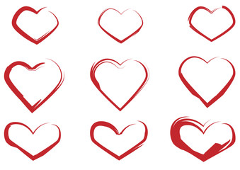 Set of red hearts painted with a brush
