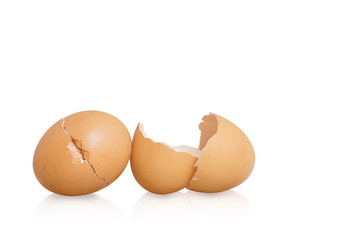Cracked eggshell on white background with clipping path