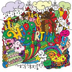 Happy birthday hand drawn sketch set with doodle