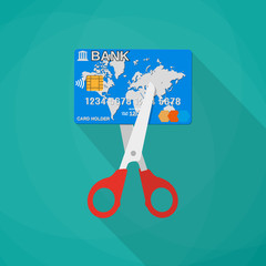 Cartoon scissors cutting a credit debit bank card. Mobile app, web design, infographic concept, vector illustration in flat design on green background