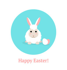 Flat Happy Easter Banner with white rabbit