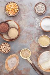 Flour and grains. An arrangement of various gluten free grains and flour.