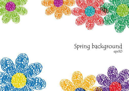 Spring Background. Hand drawn flowers