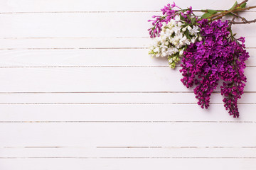 White and violet lilac flowers on white painted wooden planks.