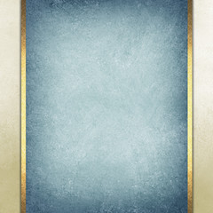 formal elegant light blue paper background with blue center and beige border and gold ribbon or stripe layers, has vintage distressed texture