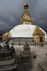 Swayambhunath pagoda in cloudy day, Kathmandu city